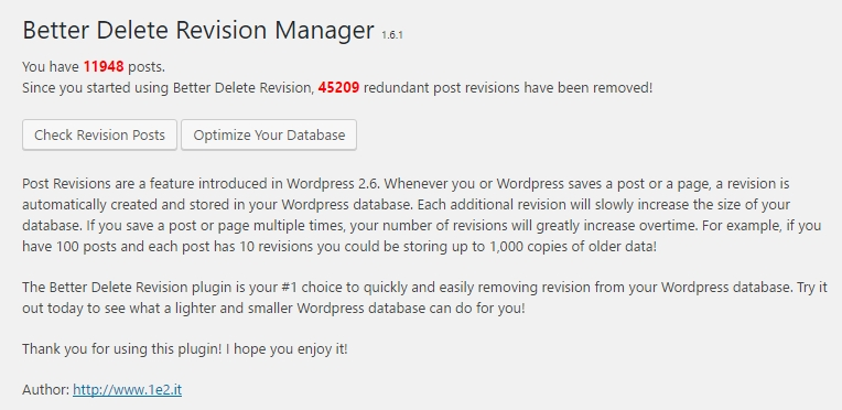 wordpress utvidelser better delete revision