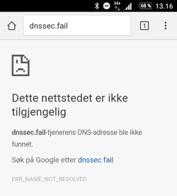 Her viser dnssec.fail en feilmelding. Dette betyr at Telenors mobilnett er sikret med DNSSEC.