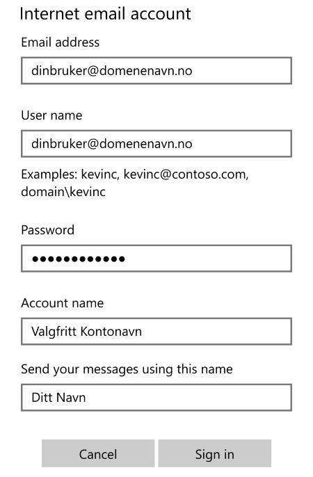 8b3f585c Skriv inn innkommende e-posttjener og utgående e-posttjener. Begge disse  skal være mail.uniweb.no. «Account type» skal være IMAP4. Sett kryss på  alle de ...