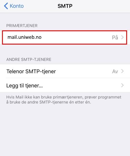 76b6a9b4 14. Sjekk at tjeneren er påslått («bruk denne tjeneren»). Skru på «SSL» og  skriv inn «Tjenerport» 465. Autentisering skal være «Passord». Trykk  «Ferdig».