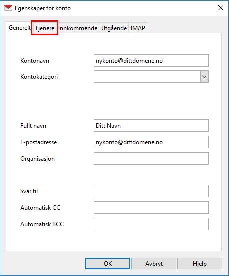 6693d8ed Pass på at du skriver inn riktige portnumre. Brukernavnet skal fortsatt  være hele din e-postadresse.