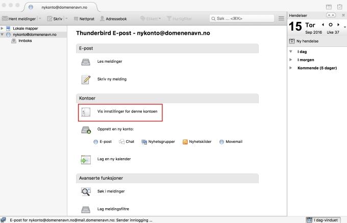 eeec409a Når du har åpnet Thunderbird, klikk på e-postkontoen i listen til venstre  og velg «Vis innstillinger for denne kontoen».