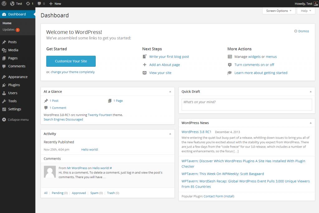 Hva er WordPress - kontrollpanelet