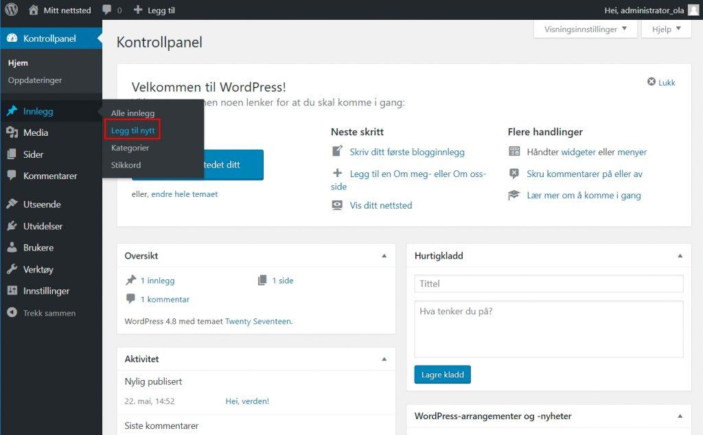 Skrive innlegg i WordPress