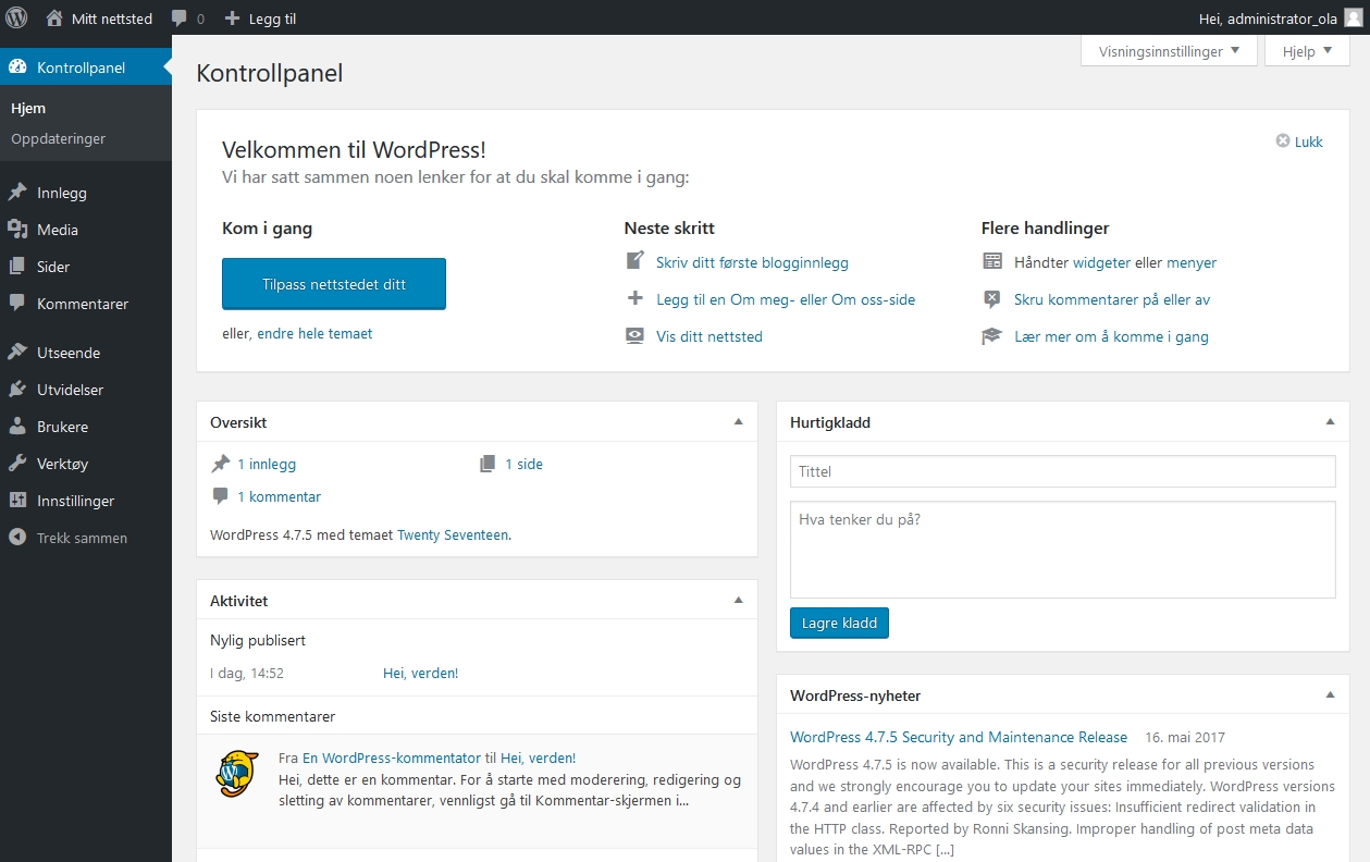 Bilde av WordPress kontrollpanelet